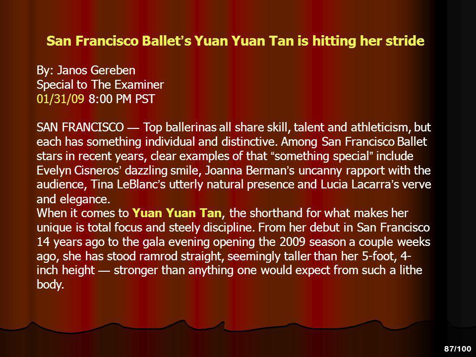 San Francisco Ballet's Yuan Yuan Tan is hitting her stride