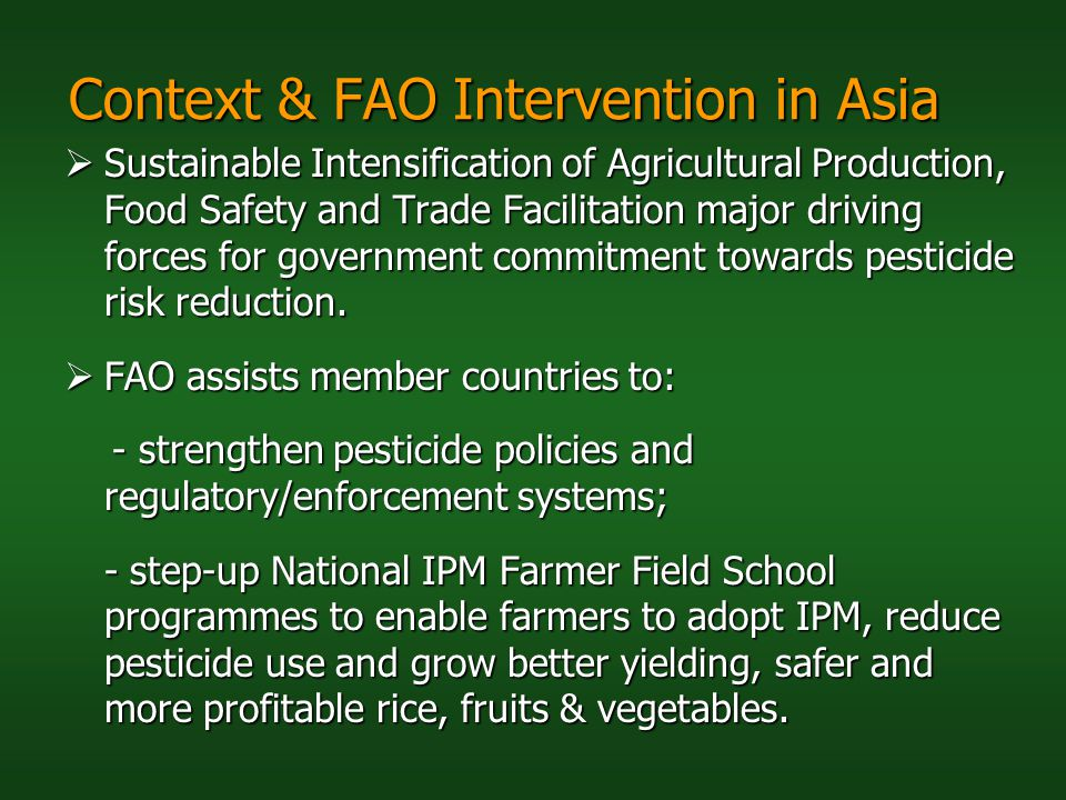 Context & FAO Intervention in Asia