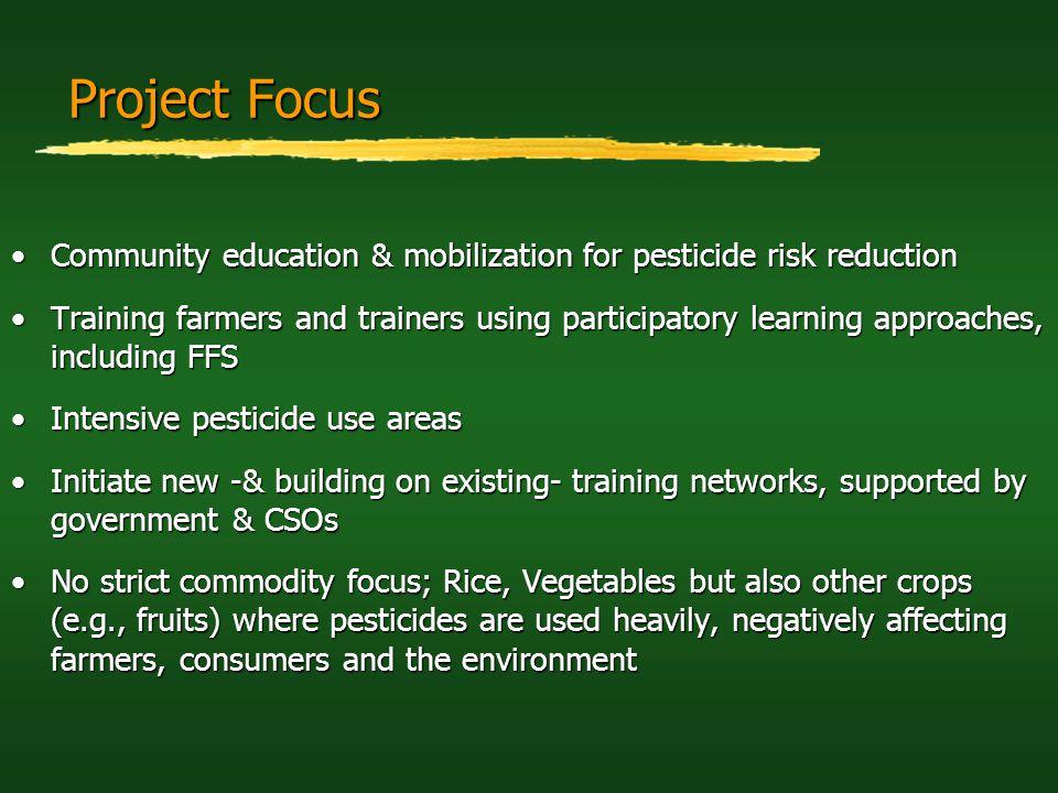 Project Focus Community education & mobilization for pesticide risk reduction.