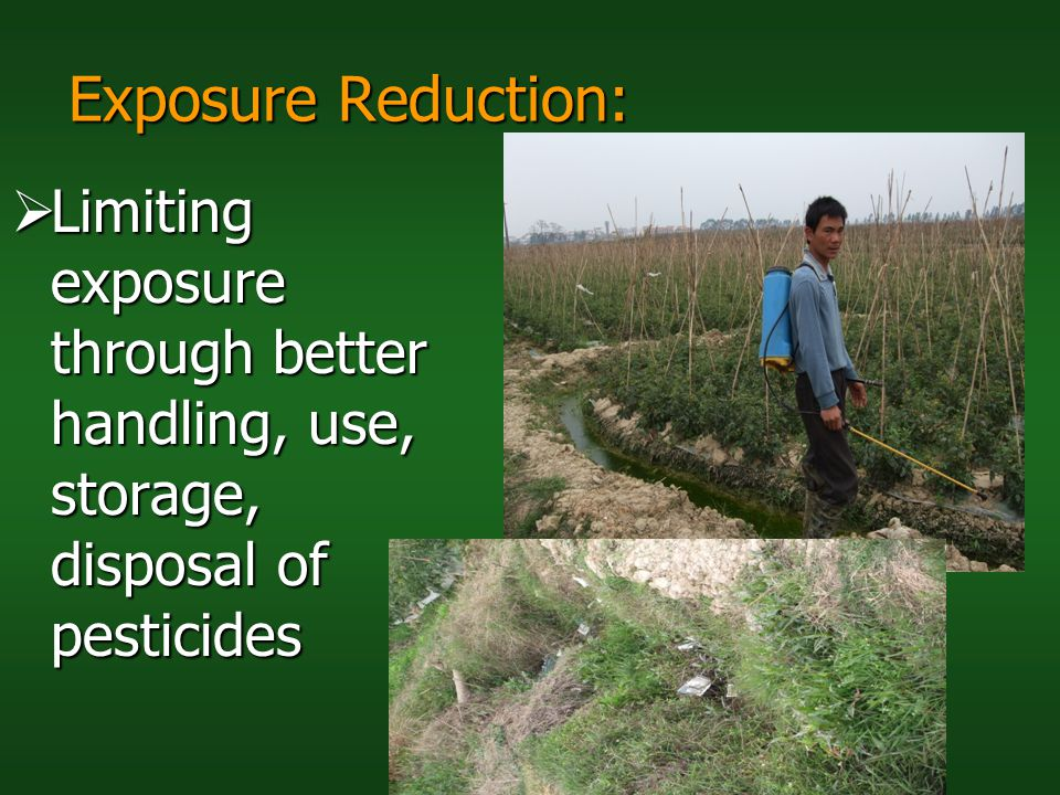 Exposure Reduction: Limiting exposure through better handling, use, storage, disposal of pesticides.