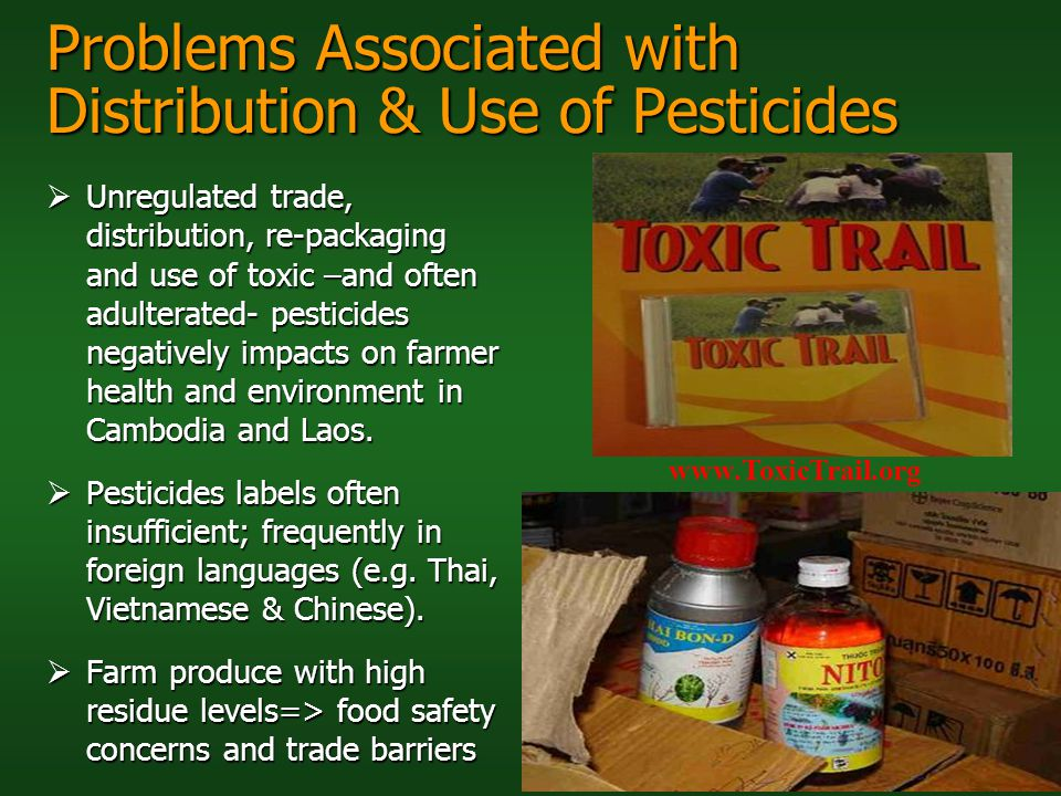 Problems Associated with Distribution & Use of Pesticides