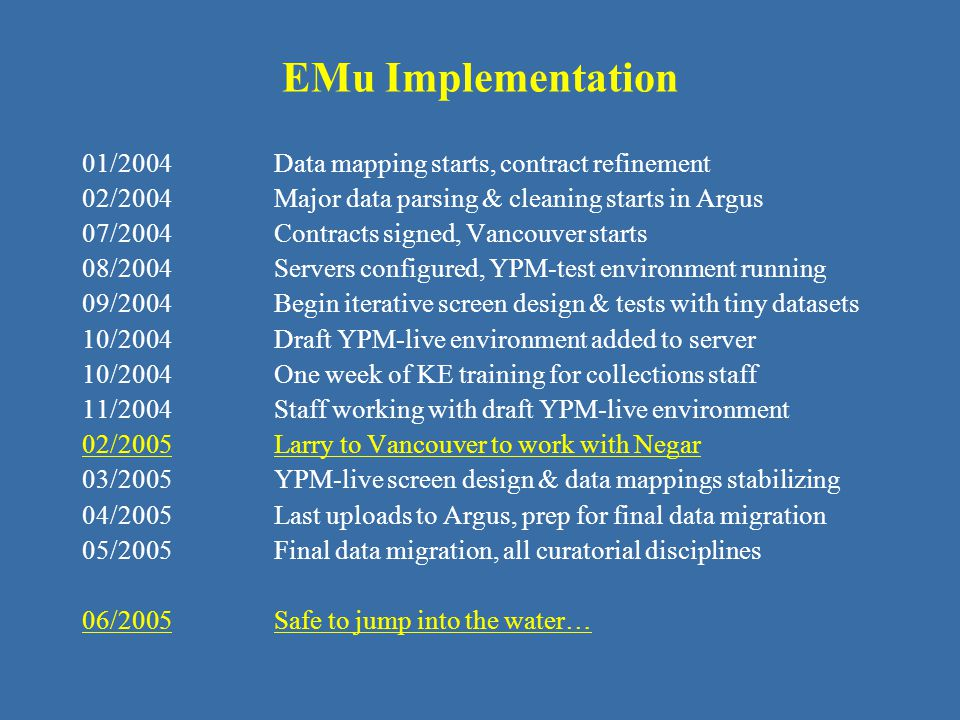 EMu Implementation 01/2004 Data mapping starts, contract refinement