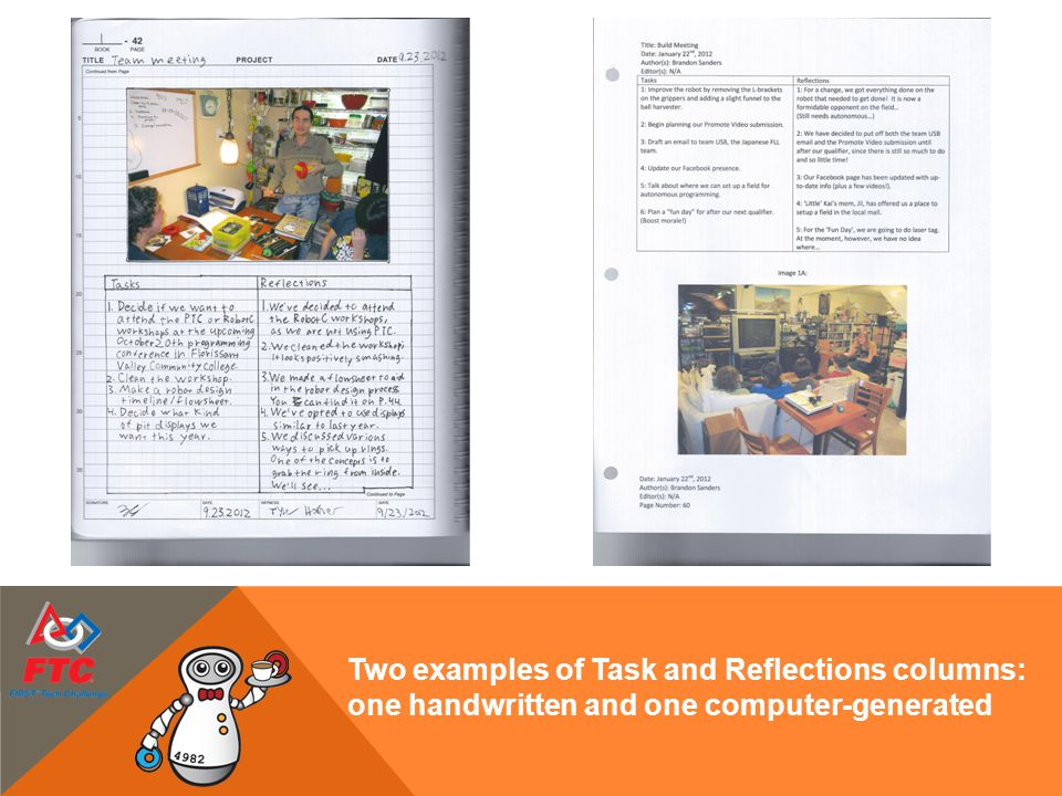 Two examples of Task and Reflections columns: