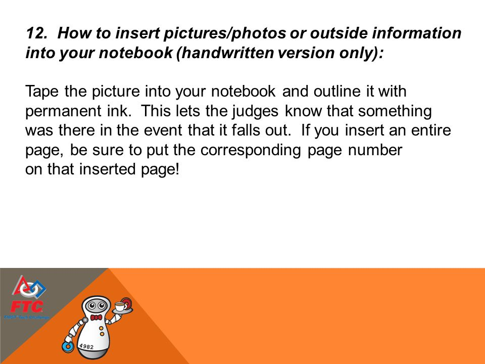 How to insert pictures/photos or outside information