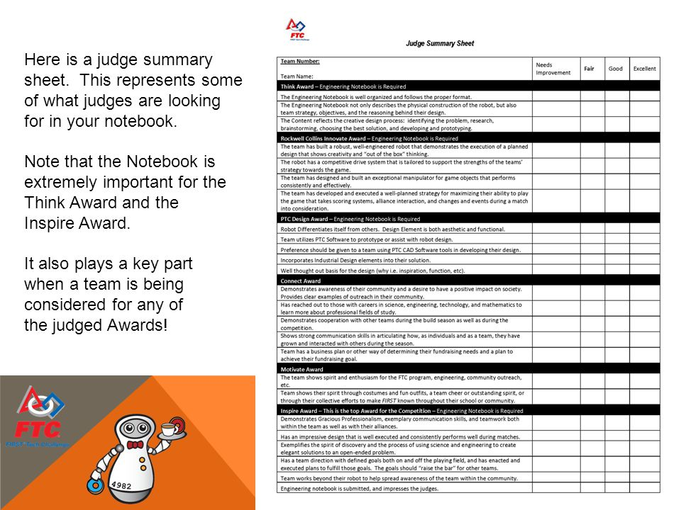sheet. This represents some of what judges are looking