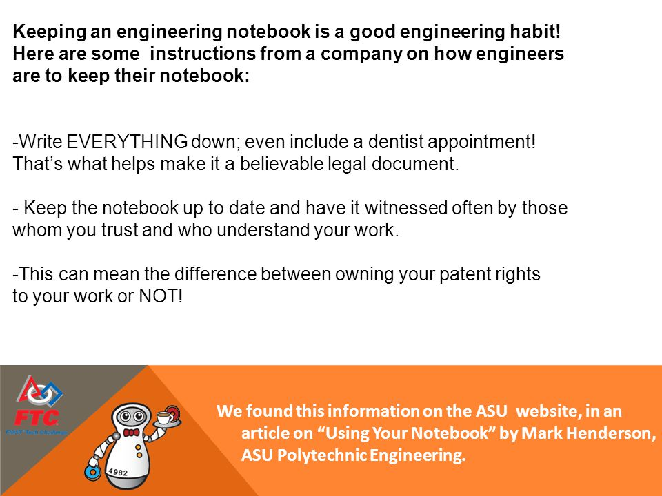 Keeping an engineering notebook is a good engineering habit!