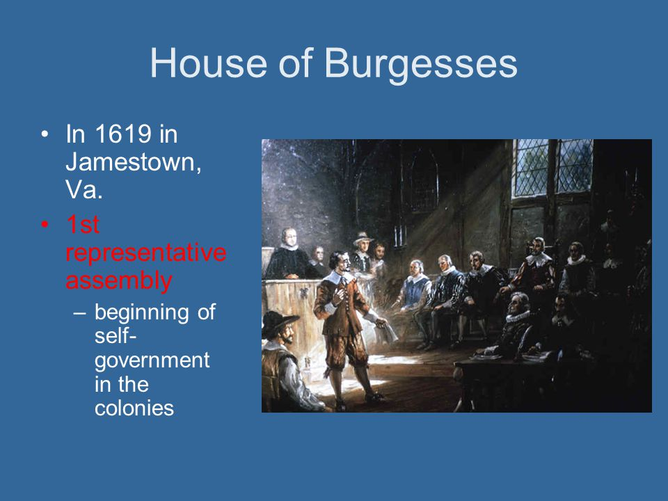 House of Burgesses In 1619 in Jamestown, Va.