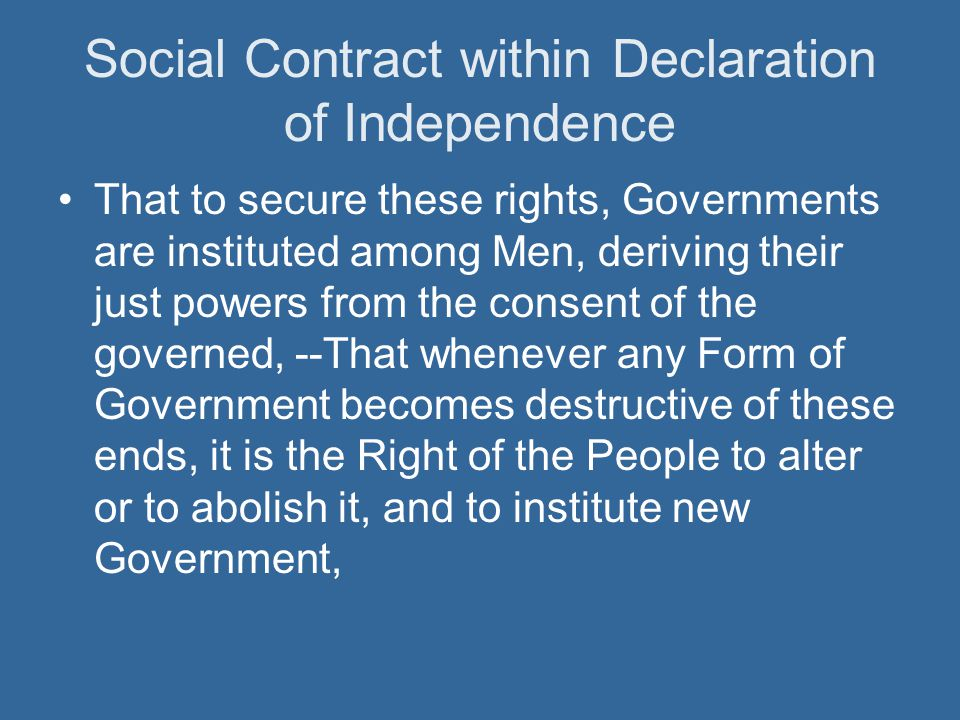 Social Contract within Declaration of Independence
