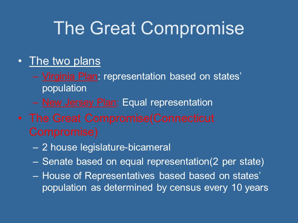 The Great Compromise The two plans