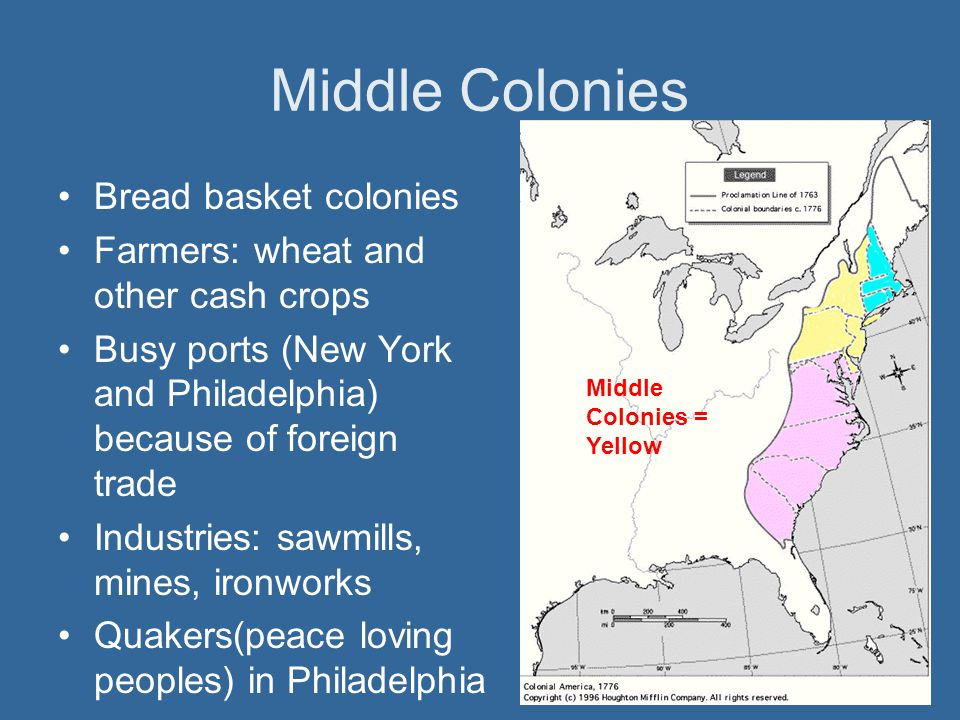 Middle Colonies Bread basket colonies