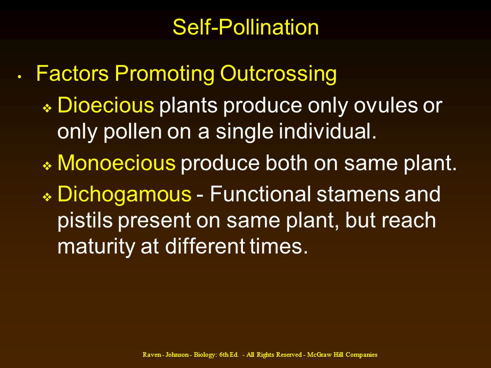Factors Promoting Outcrossing