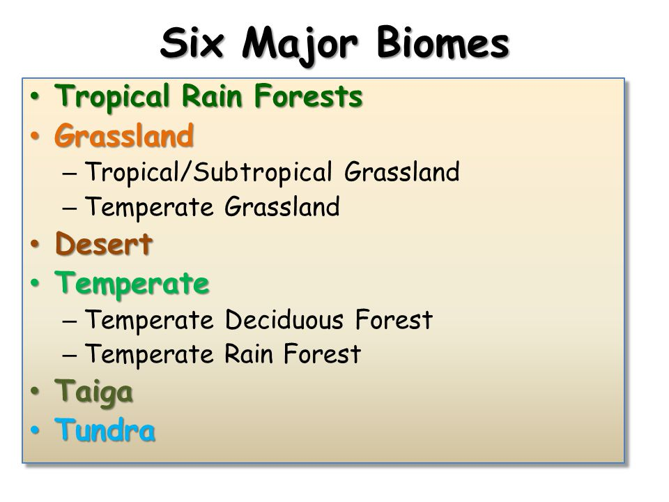 Six Major Biomes Tropical Rain Forests Grassland Desert Temperate