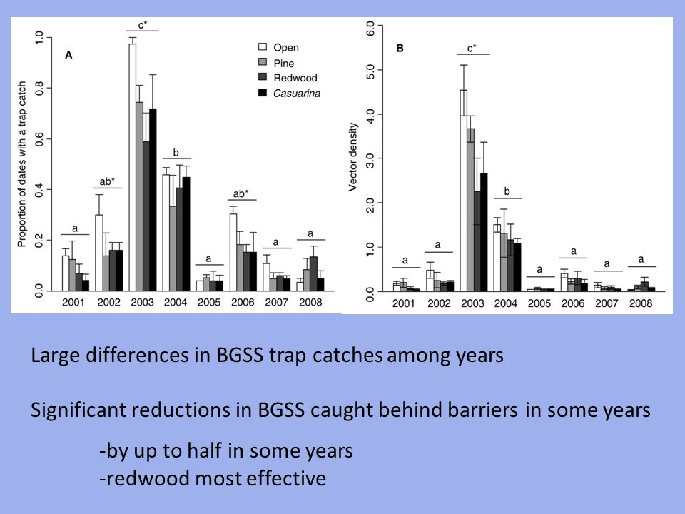 Large differences in BGSS trap catches among years