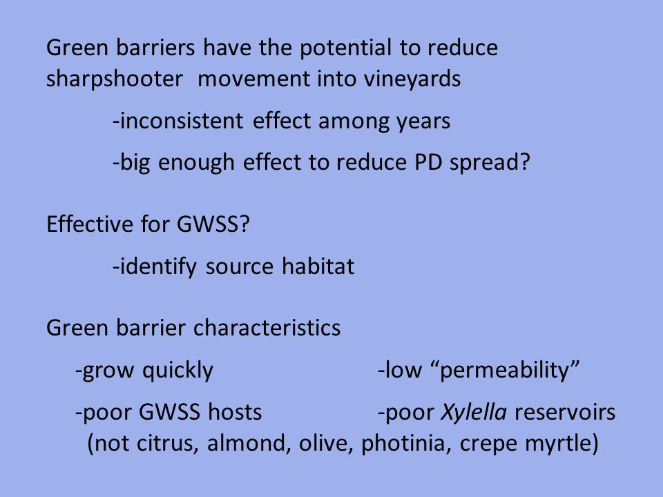 Green barriers have the potential to reduce sharpshooter movement into vineyards