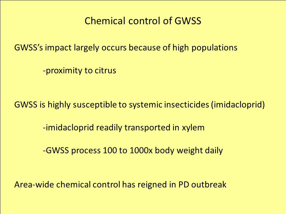 Chemical control of GWSS