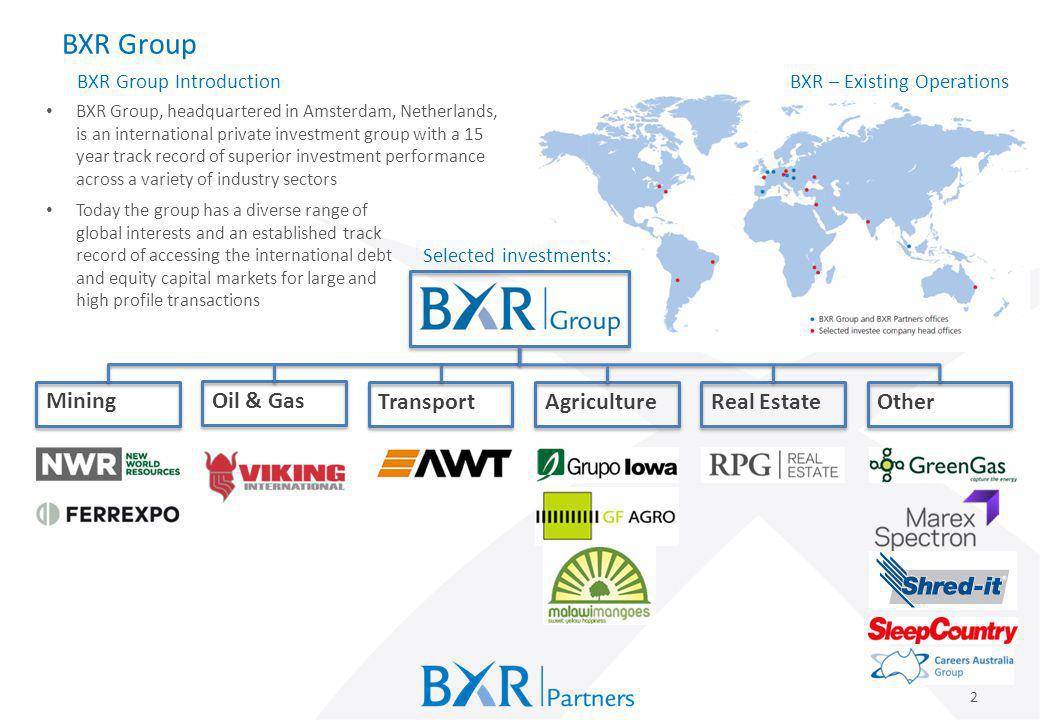BXR Group Mining Oil & Gas Transport Agriculture Real Estate Other