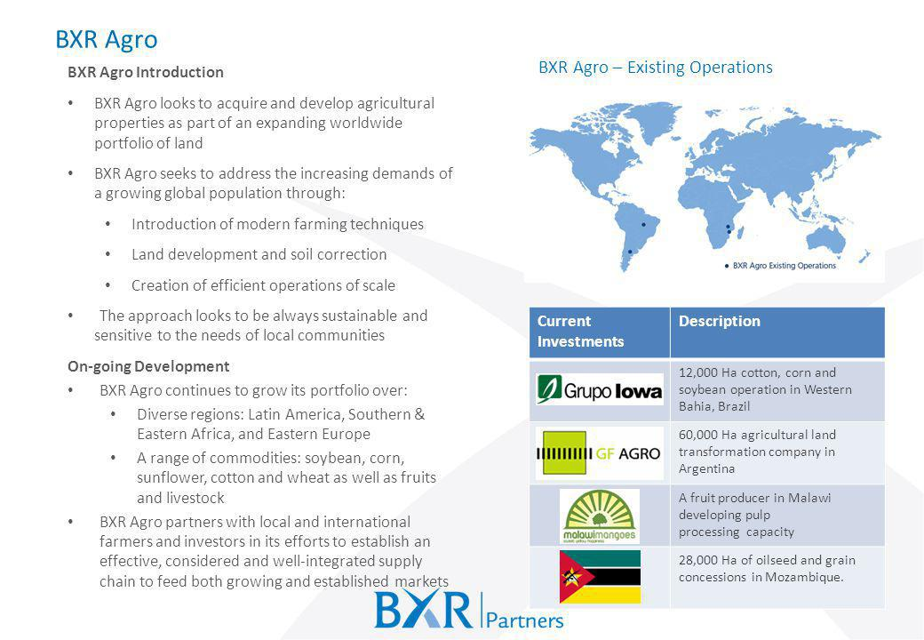 BXR Agro BXR Agro – Existing Operations BXR Agro Introduction