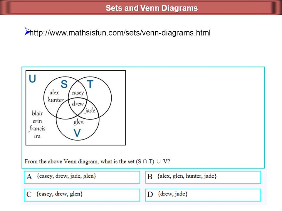 Sets and Venn Diagrams http://www.mathsisfun.com/sets/venn-diagrams.html