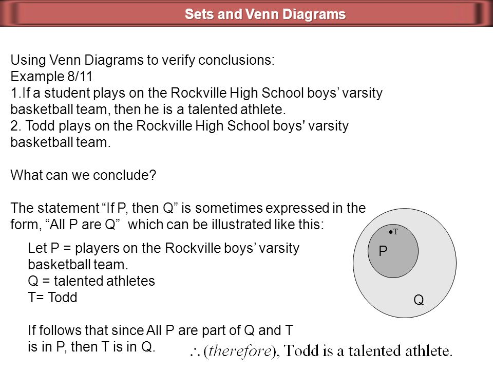 Using Venn Diagrams to verify conclusions: Example 8/11