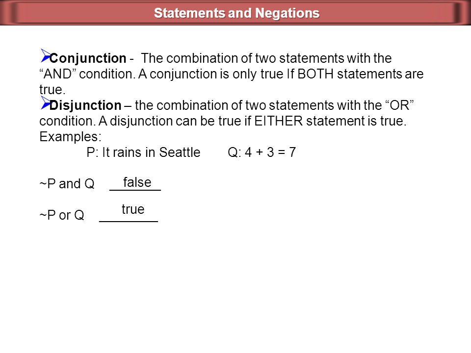 Statements and Negations