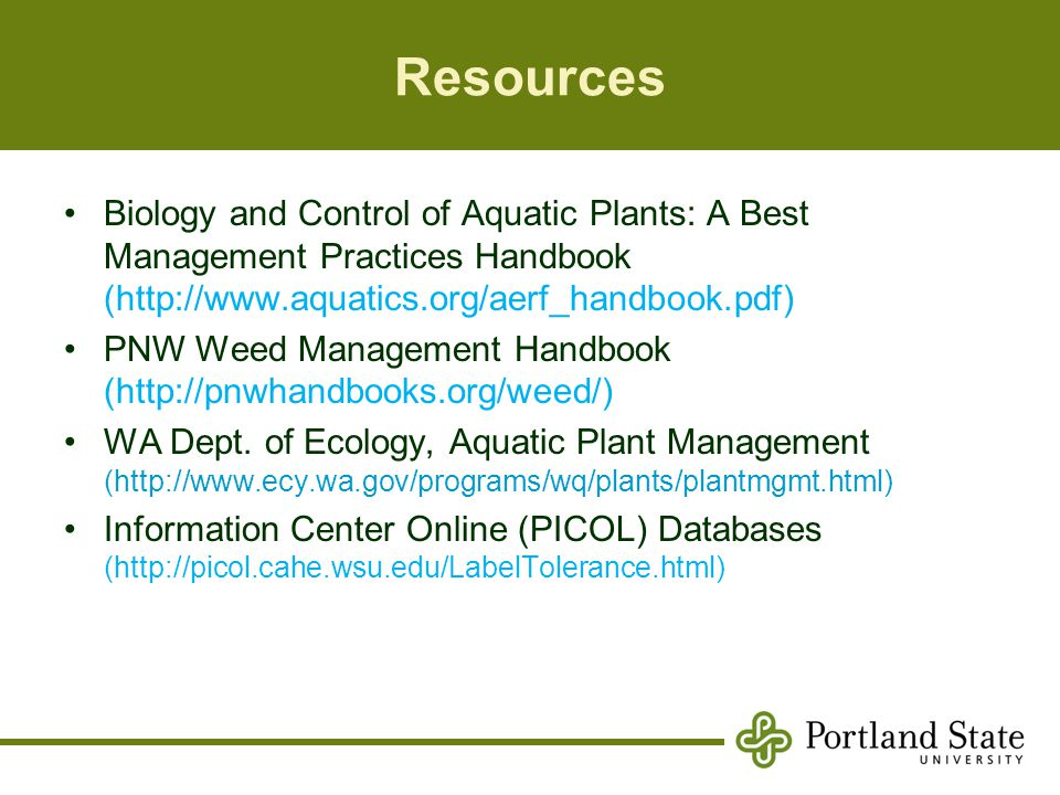 Resources Biology and Control of Aquatic Plants: A Best Management Practices Handbook (http://www.aquatics.org/aerf_handbook.pdf)