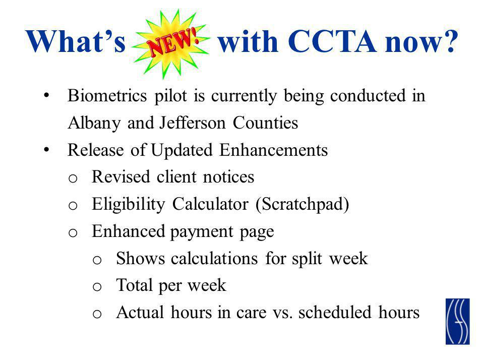 What's with CCTA now Biometrics pilot is currently being conducted in
