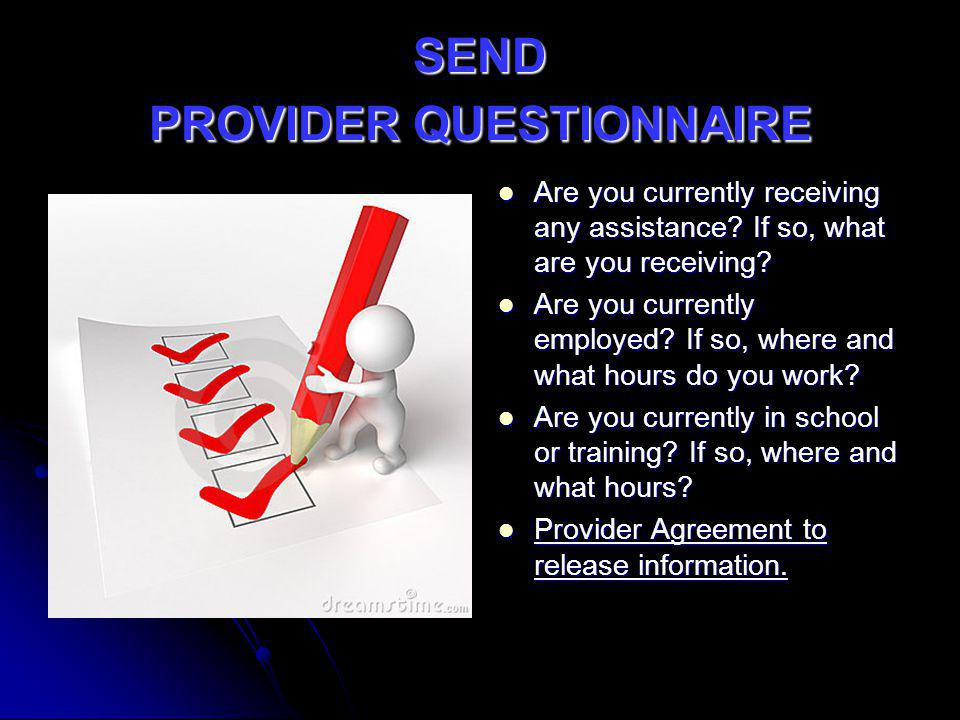 SEND PROVIDER QUESTIONNAIRE