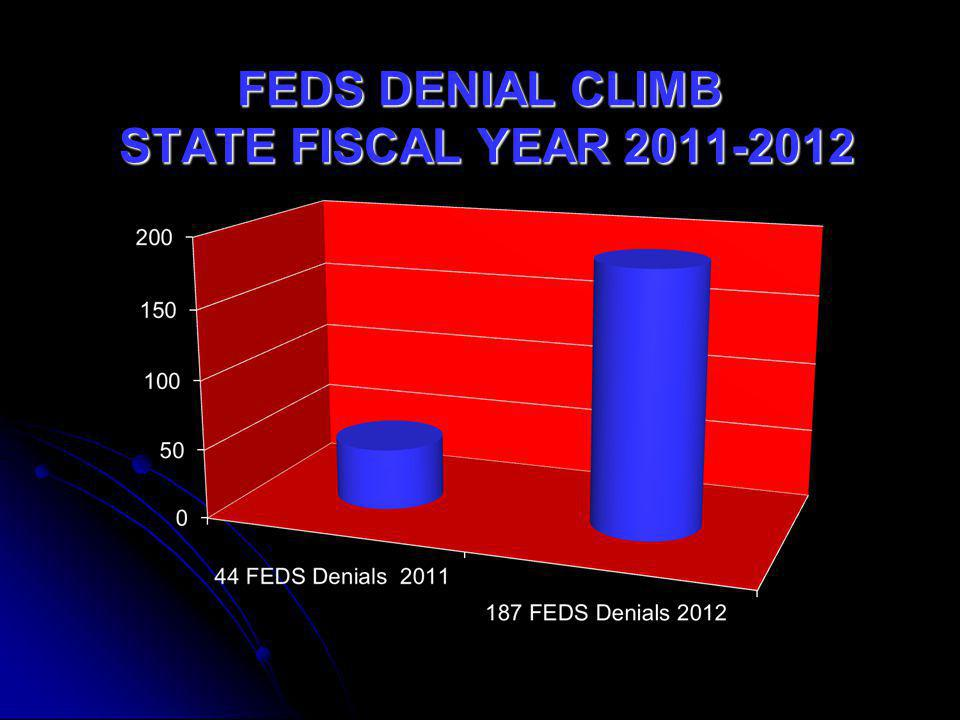 FEDS DENIAL CLIMB STATE FISCAL YEAR 2011-2012