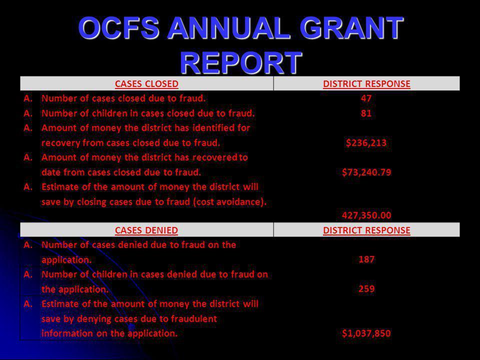 OCFS ANNUAL GRANT REPORT