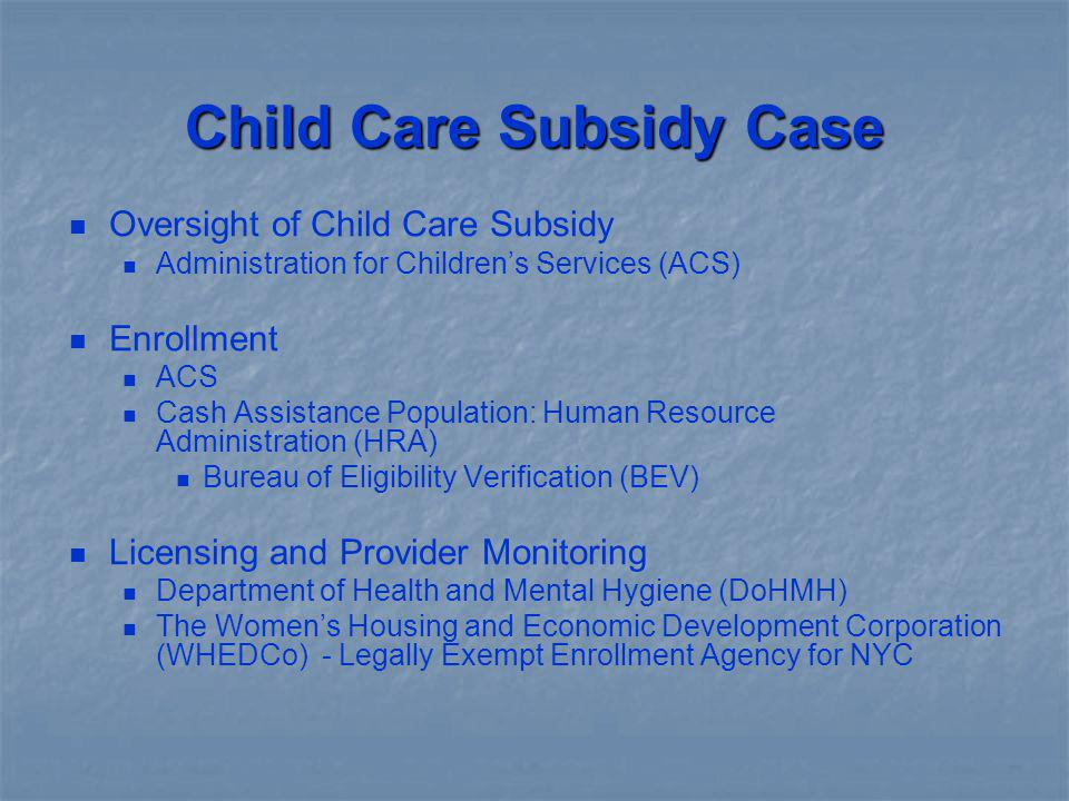 Child Care Subsidy Case