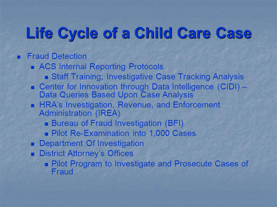 Life Cycle of a Child Care Case
