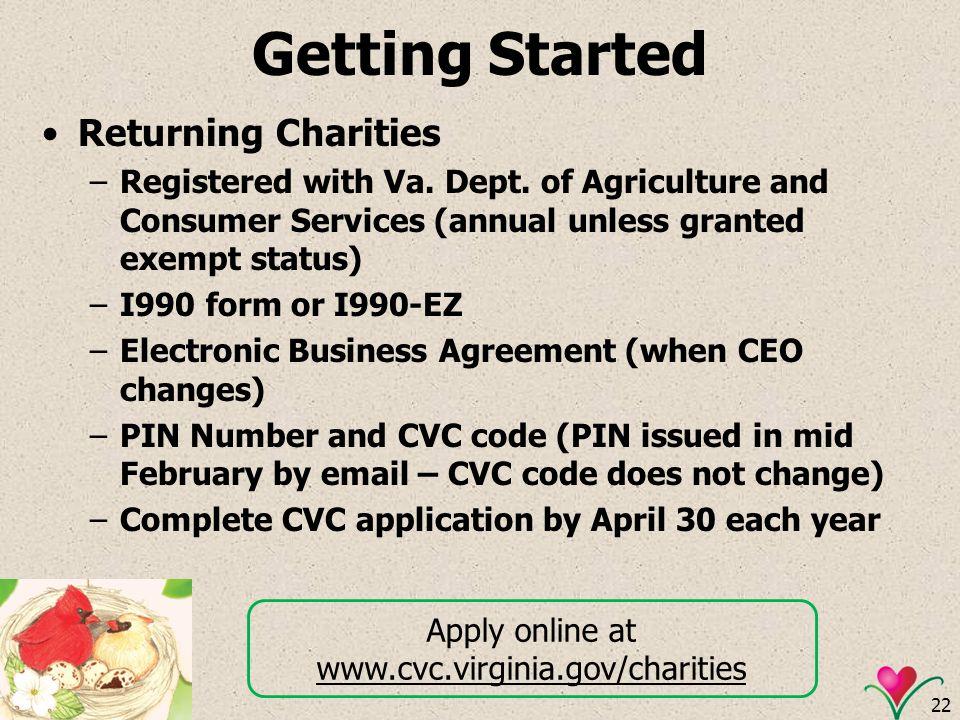 Apply online at www.cvc.virginia.gov/charities