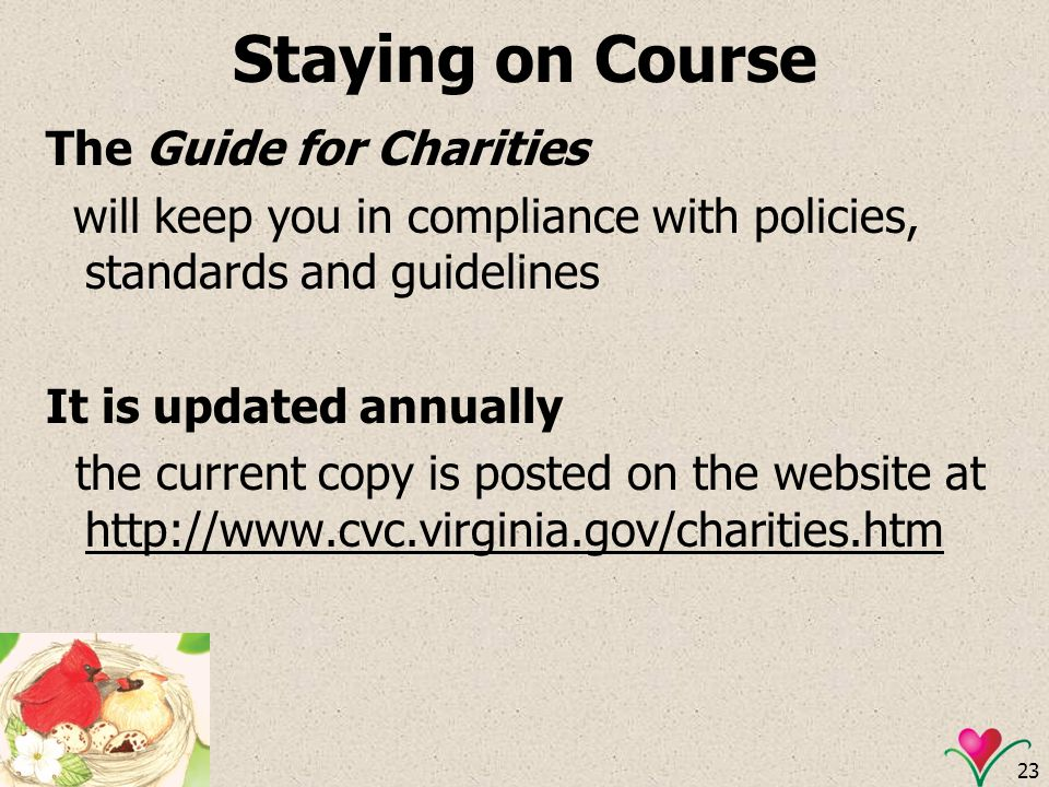 Staying on Course The Guide for Charities