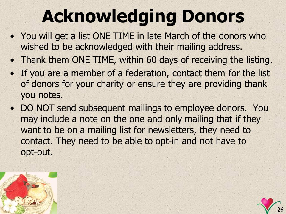 Acknowledging Donors You will get a list ONE TIME in late March of the donors who wished to be acknowledged with their mailing address.
