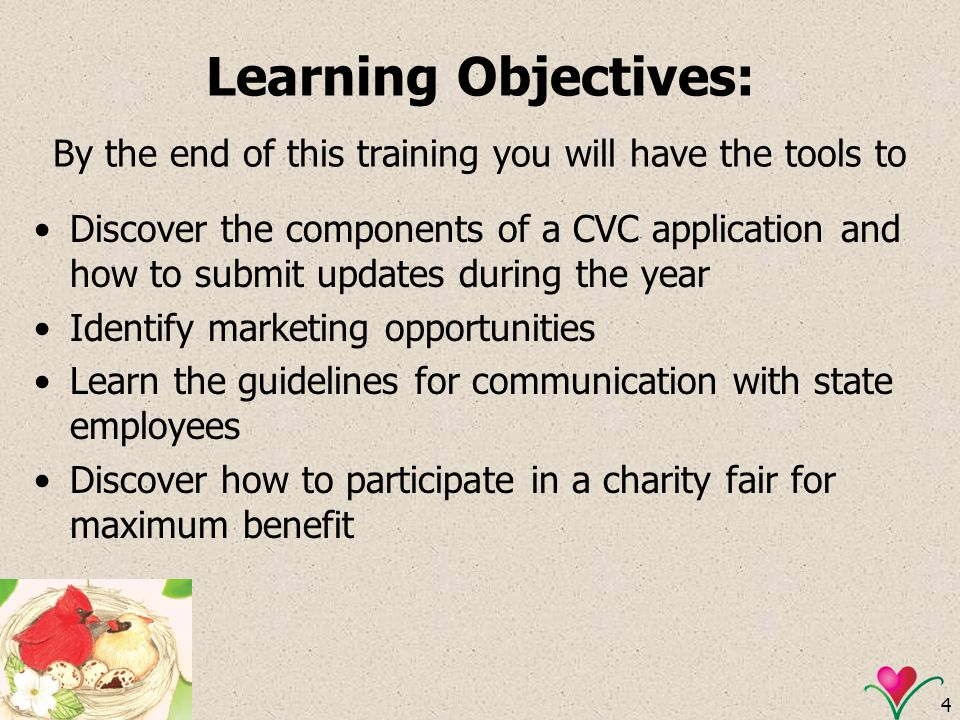 Learning Objectives: By the end of this training you will have the tools to