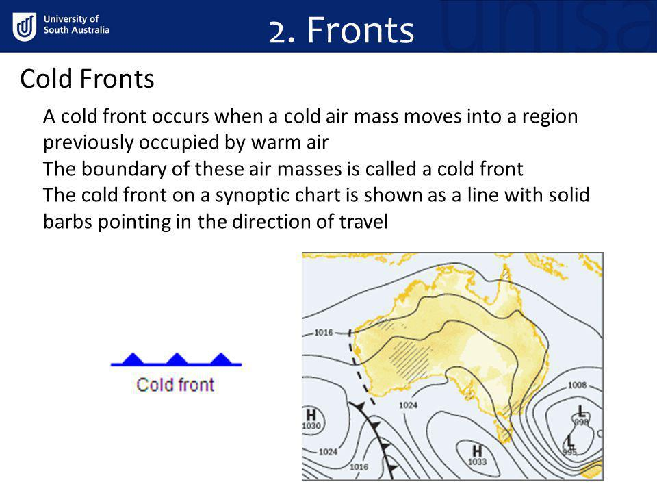 2. Fronts Cold Fronts. A cold front occurs when a cold air mass moves into a region previously occupied by warm air.