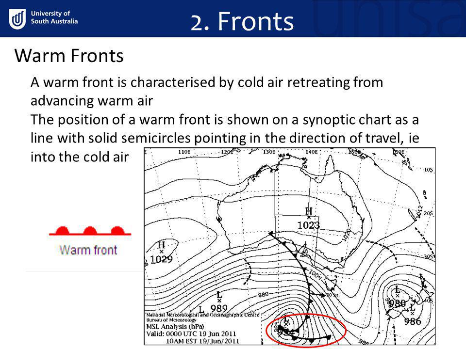 2. Fronts Warm Fronts. A warm front is characterised by cold air retreating from advancing warm air.