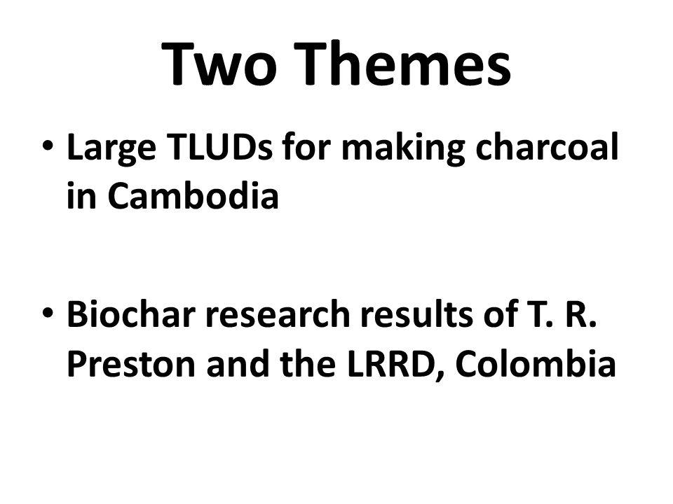 Two Themes Large TLUDs for making charcoal in Cambodia
