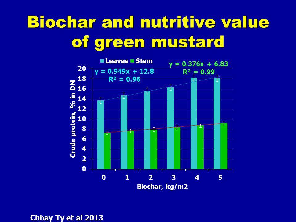 Biochar and nutritive value of green mustard