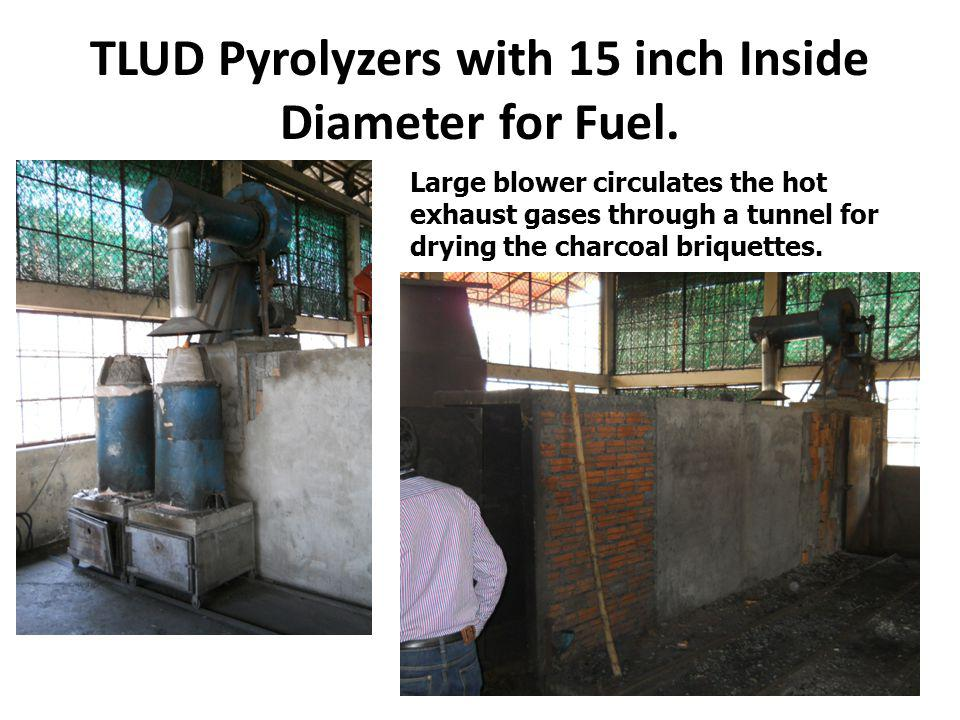 TLUD Pyrolyzers with 15 inch Inside Diameter for Fuel.