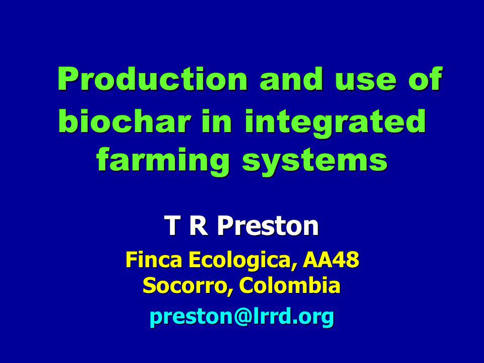 Production and use of biochar in integrated farming systems