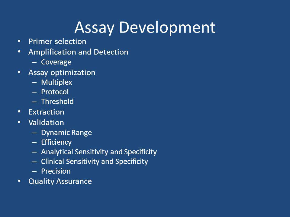 Assay Development Primer selection Amplification and Detection