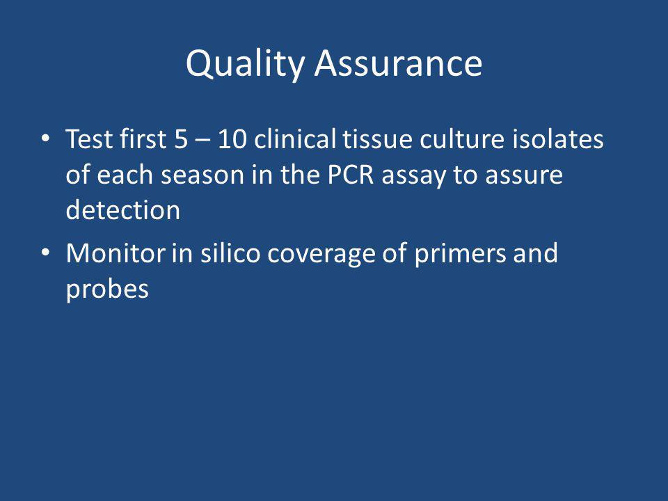 Quality Assurance Test first 5 – 10 clinical tissue culture isolates of each season in the PCR assay to assure detection.