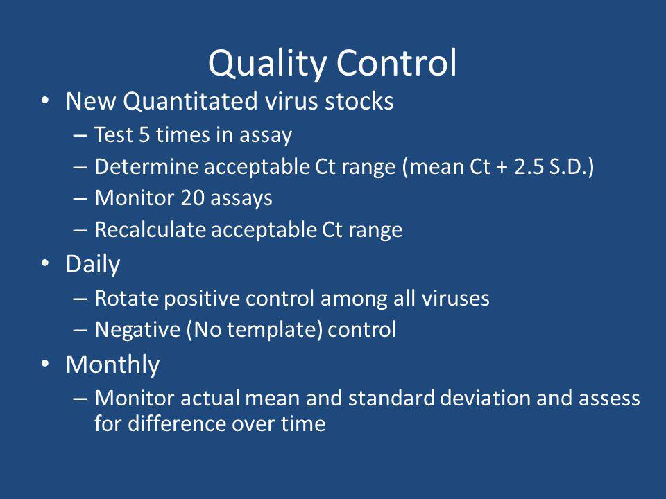 Quality Control New Quantitated virus stocks Daily Monthly