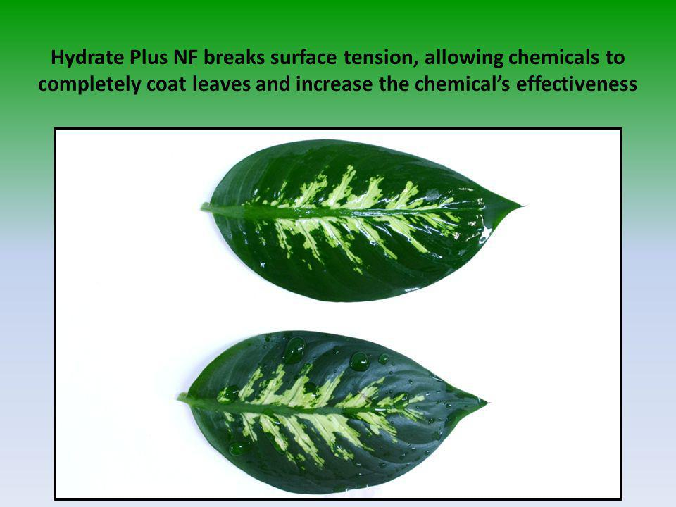 Hydrate Plus NF breaks surface tension, allowing chemicals to completely coat leaves and increase the chemical's effectiveness