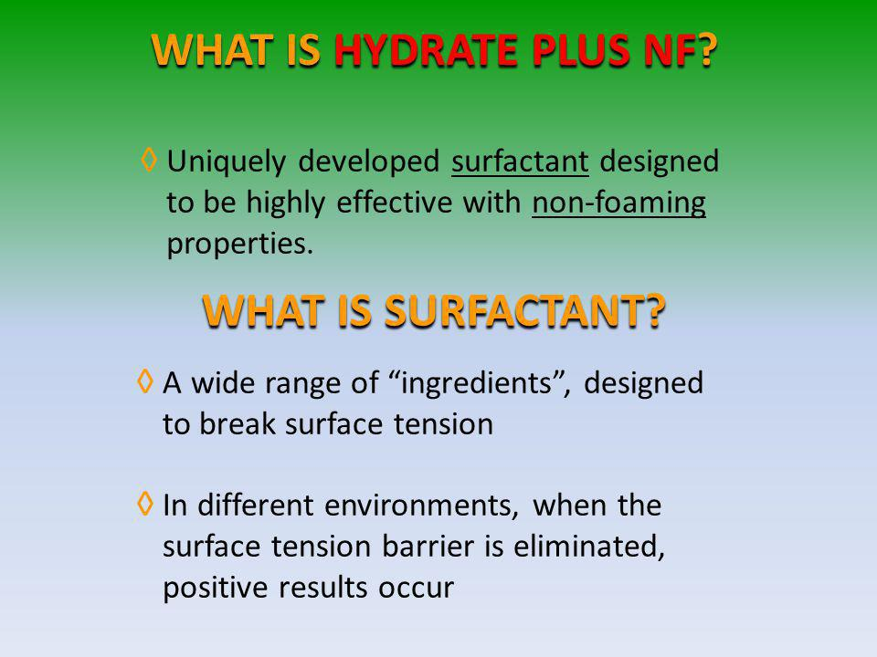 WHAT IS HYDRATE PLUS NF WHAT IS SURFACTANT