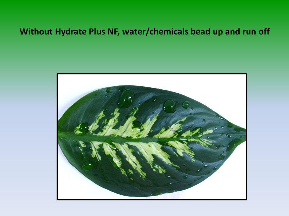 Without Hydrate Plus NF, water/chemicals bead up and run off