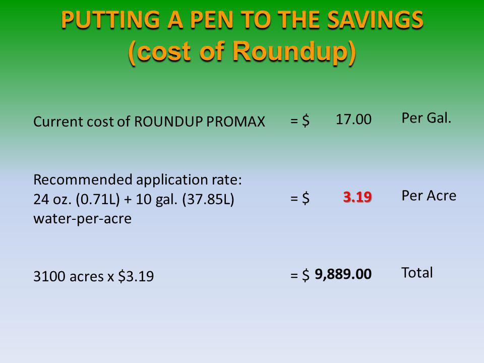 PUTTING A PEN TO THE SAVINGS (cost of Roundup)