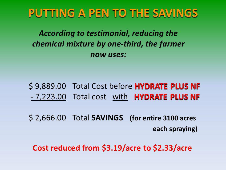PUTTING A PEN TO THE SAVINGS