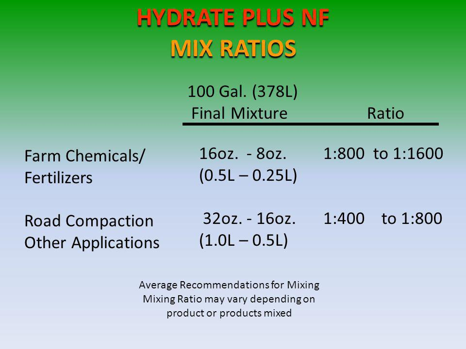 HYDRATE PLUS NF MIX RATIOS